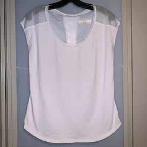 FABLETICS White Mesh Back Workout Top